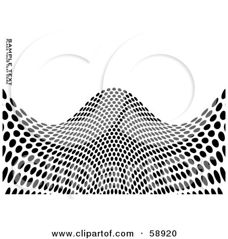 Royalty-Free (RF) Clipart Illustration of a Black And White Background Of Dots Forming A Hilly Wave, With Sample Text by michaeltravers