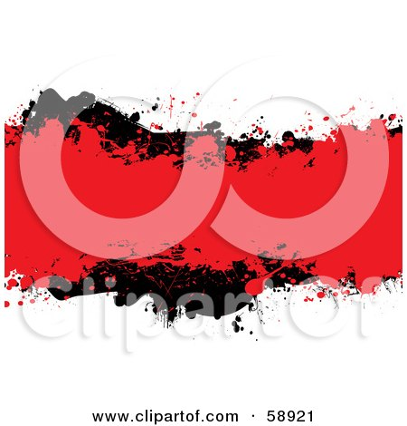 Royalty-Free (RF) Clipart Illustration of a Red And Blank Ink Grunge Splatter Text Box On White by michaeltravers