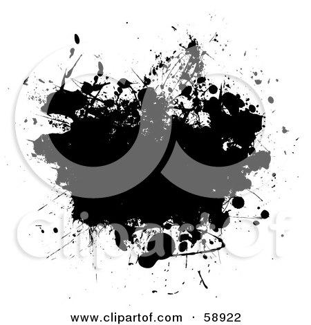 Royalty-Free (RF) Clipart Illustration of a Black Ink Splatter Background On White - Version 3 by michaeltravers