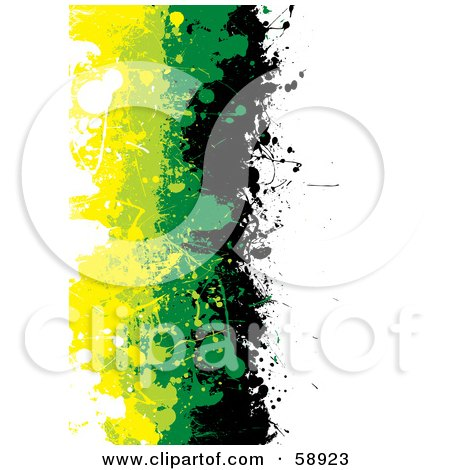Royalty-Free (RF) Clipart Illustration of a Vertical Background Of Black, Green And Yellow Grunge Splatters Against White by michaeltravers