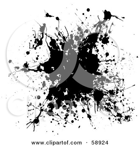 Royalty-Free (RF) Clipart Illustration of a Black And White Ink Splatter Background, Version 5 by michaeltravers