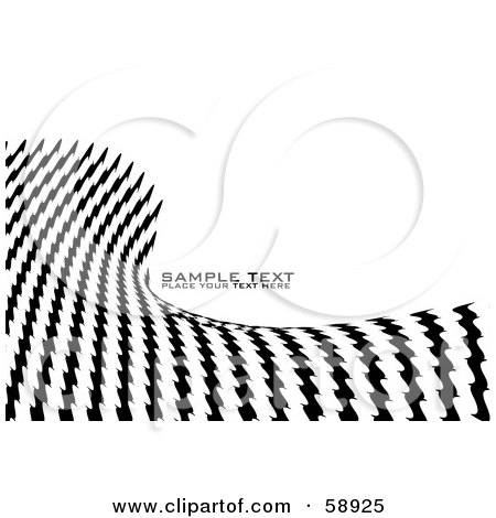 Royalty-Free (RF) Clipart Illustration of a Black And White Background Of A Wave Of Jagged Lines And Sample Text by michaeltravers