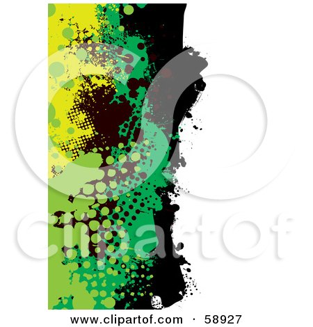 Royalty-Free (RF) Clipart Illustration of a Vertical Background Of Yellow, Green And Black Grunge Splatters Against White by michaeltravers