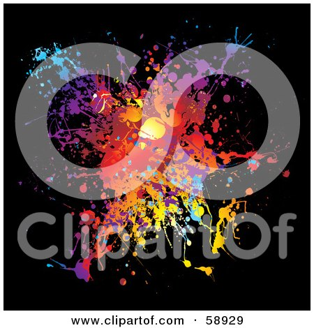 Royalty-Free (RF) Clipart Illustration of a Vibrant Splatter Of Colors On Black by michaeltravers