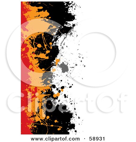 Royalty-Free (RF) Clipart Illustration of a Background With Red, Orange And Black Splatters Against White by michaeltravers