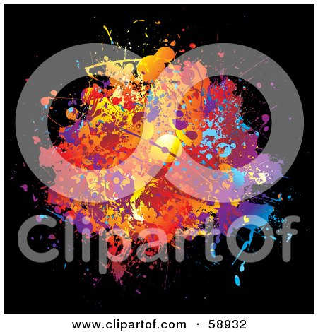Royalty-Free (RF) Clipart Illustration of a Splattered Blot Of Colors On Black by michaeltravers