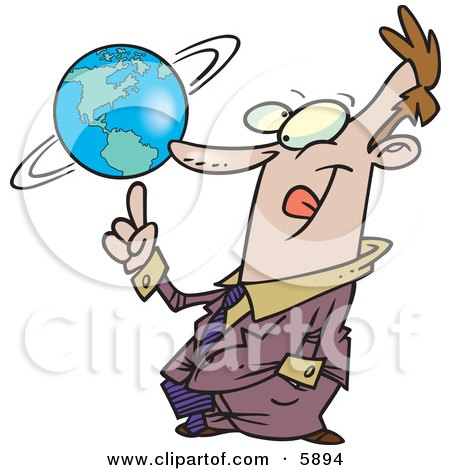 Successful Business Man Spinning the World Globe on His Finger Posters, Art Prints