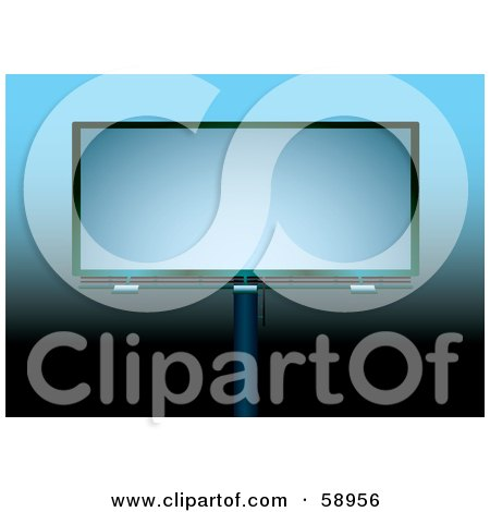 Royalty-Free (RF) Clipart Illustration of a Blank Billboard Against A Gradient Blue And Black Background by michaeltravers