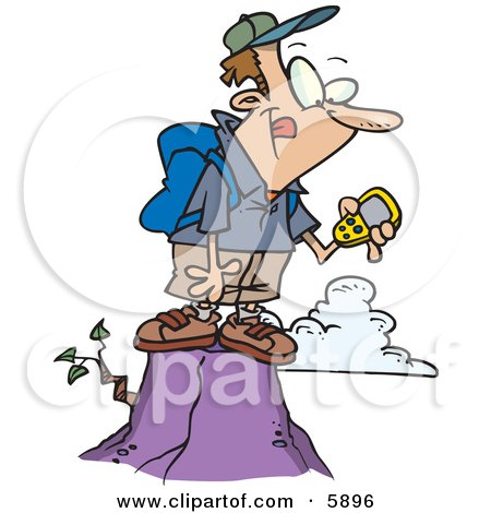 Hiker Man On Top Of A Mountain Using A GPS Clipart Illustration