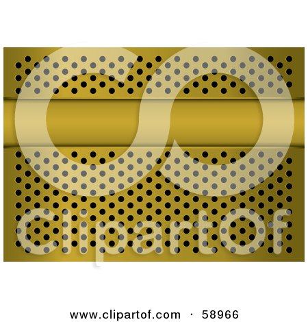 Royalty-Free (RF) Clipart Illustration of a Gold Metal Grill Background With A Text Bar And Holes by michaeltravers