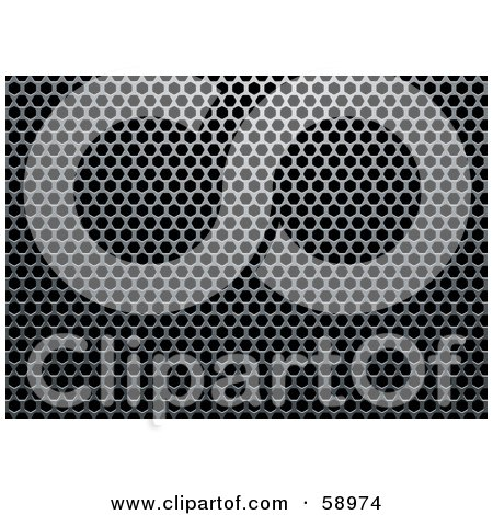 Royalty-Free (RF) Clipart Illustration of a Chrome Metal Grill Background With Holes - Version 5 by michaeltravers