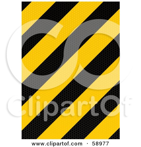 Royalty-Free (RF) Clipart Illustration of a Black And Yellow Warning Stripe Background - Version 1 by michaeltravers
