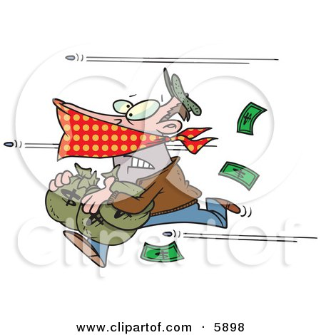 Bank Robber Running With Money, Bullets Being Shot at Him Clipart Illustration by toonaday