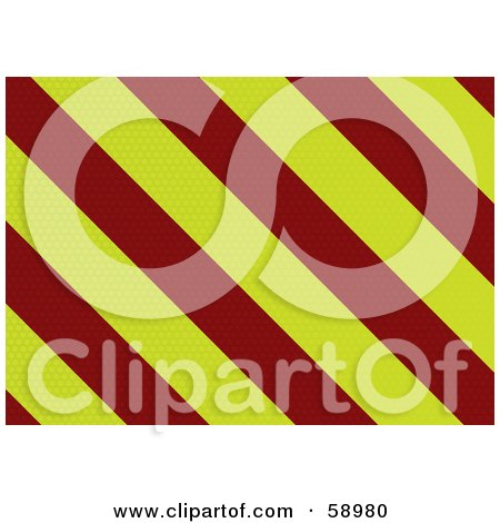 Royalty-Free (RF) Clipart Illustration of a Dot Textured Red And Yellow Warning Stripe Background by michaeltravers
