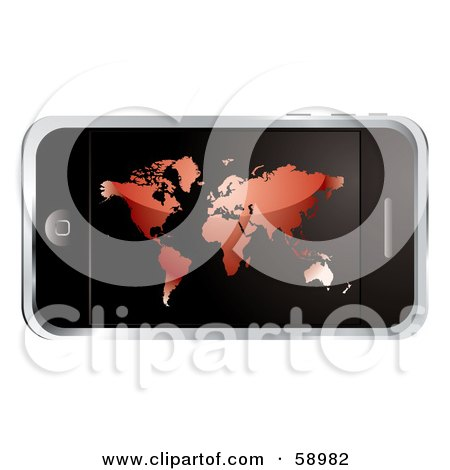 Royalty-Free (RF) Clipart Illustration of a Modern Cellular Phone With A Red Atlas Screen by michaeltravers