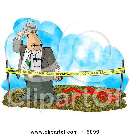 Crime Scene Investigator Investigating A Murder Clipart Picture