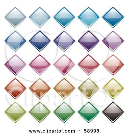 Royalty-Free (RF) Clipart Illustration of a Digital Collage Of Colorful And Shiny Diamond Icons by michaeltravers