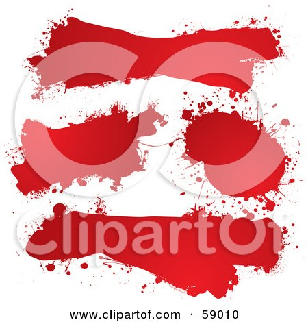 Royalty-Free (RF) Clipart Illustration of a Digital Collage Of Red Ink Splat Grunge Text Boxes by michaeltravers