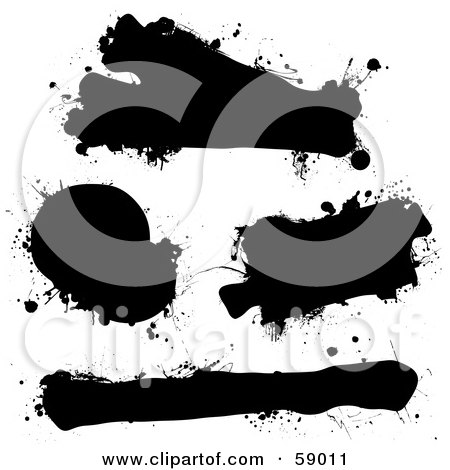 Royalty-Free (RF) Clipart Illustration of a Digital Collage Of Black Ink Splat Grunge Text Boxes by michaeltravers
