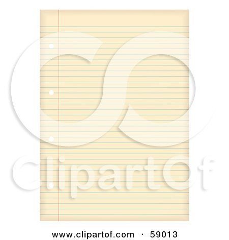 Royalty-Free (RF) Clipart Illustration of an Aged Ruled Sheet Of Binder Paper by michaeltravers