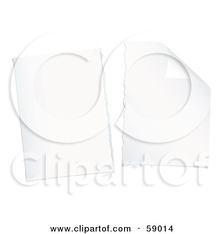 Royalty-Free (RF) Clipart Illustration of Two Torn Pieces Of Plain White Paper by michaeltravers