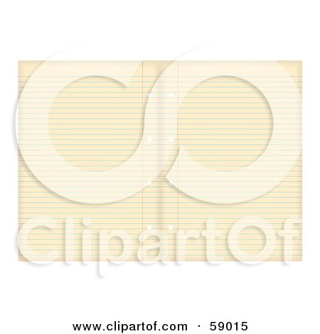 Royalty-Free (RF) Clipart Illustration of Two Sheets Of Aged Ruled Sheet Of Binder Paper by michaeltravers