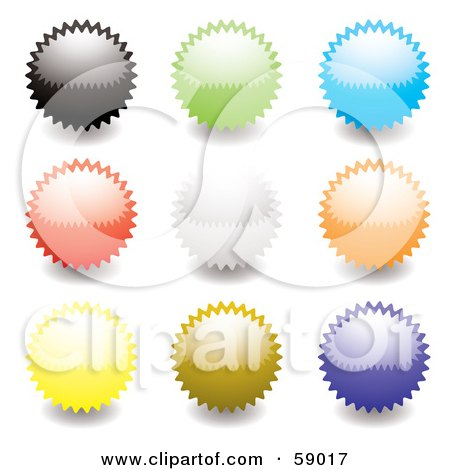 Royalty-Free (RF) Clipart Illustration of a Digital Collage Of Rounded Colorful Burst Seal Buttons - Version 1 by michaeltravers