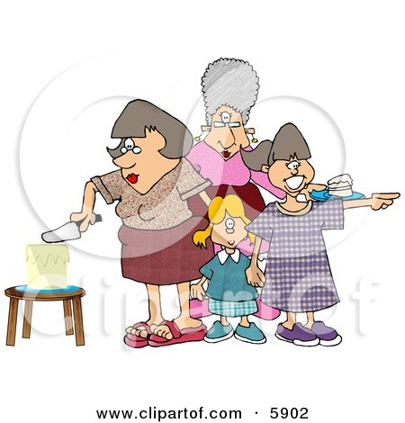 Mother Cutting Her Daughters Birthday Cake Clipart Picture by Dennis Cox