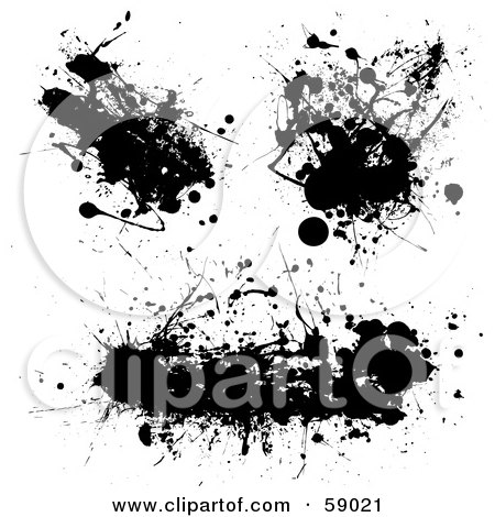 Royalty-Free (RF) Clipart Illustration of a Digital Collage Of Three Messy Black Ink Splatters by michaeltravers