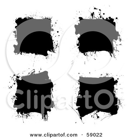 Royalty-Free (RF) Clipart Illustration of a Digital Collage Of Three Messy Black Ink Splatter Squares by michaeltravers