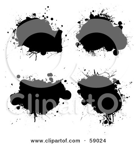 Royalty-Free (RF) Clipart Illustration of a Digital Collage Of Four Black Grungy Ink Splatters by michaeltravers