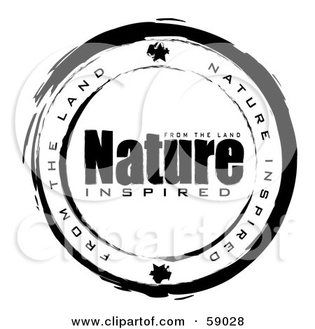 Royalty-Free (RF) Clipart Illustration of a Black And White Nature Inspired Stamp Seal by michaeltravers