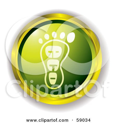 Royalty-Free (RF) Clipart Illustration of a Green Eco Footprint Website Button by michaeltravers