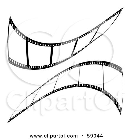 Royalty-Free (RF) Clipart Illustration of a Mirrored Reflection Of Black Film Strips by michaeltravers