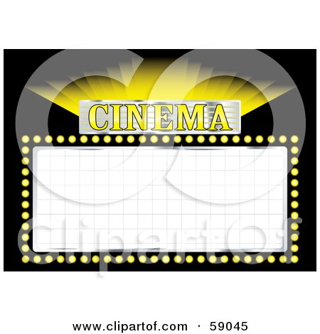 Royalty-Free (RF) Clipart Illustration of a Shining Yellow Cinema Movie Sign With Blank Space On Black by michaeltravers