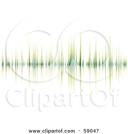 Royalty-Free (RF) Clipart Illustration of a Green Heart Beat Graph On White by michaeltravers