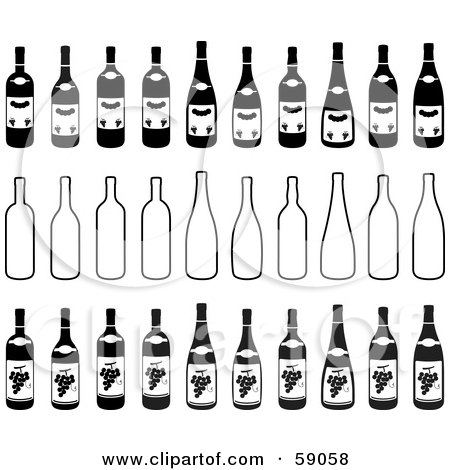 Royalty-Free (RF) Clipart Illustration of a Digital Collage Of Black And White Bottles by Frisko