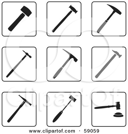 Royalty-Free (RF) Clipart Illustration of a Digital Collage Of Black And White Hammer Icons - Version 2 by Frisko