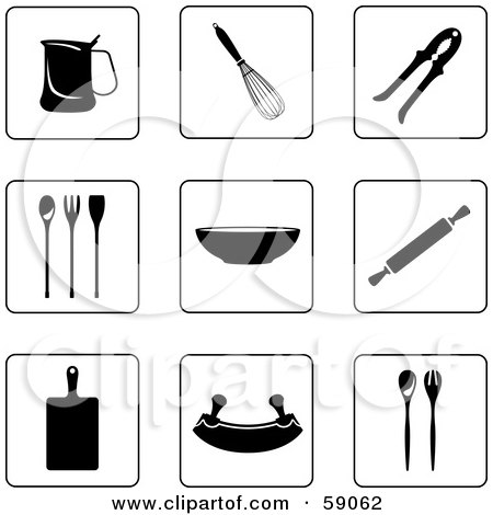 Royalty-Free (RF) Clipart Illustration of a Digital Collage Of Black And White Kitchen Icon Buttons - Version 2 by Frisko