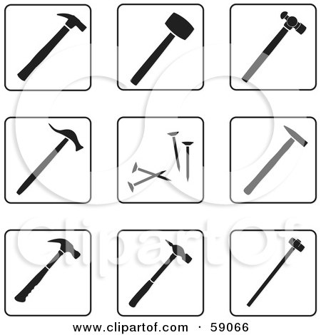 Royalty-Free (RF) Clipart Illustration of a Digital Collage Of Black And White Hammer Icons - Version 1 by Frisko