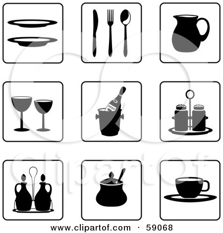 Royalty-Free (RF) Clipart Illustration of a Digital Collage Of Black And White Kitchen Icon Buttons - Version 3 by Frisko