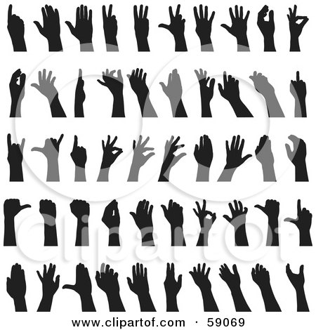 Royalty-Free (RF) Clipart Illustration of a Digital Collage Of Black And White Sign Language Hands by Frisko