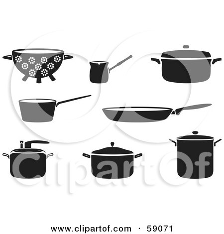 Digital Collage Of Black And White Kitchen Cookware Posters, Art Prints
