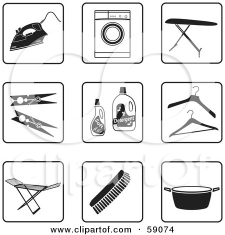 Royalty-Free (RF) Clipart Illustration of a Digital Collage Of Black And White Laundry Icon Buttons by Frisko