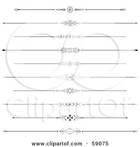 Royalty-Free (RF) Clipart Illustration of a Digital Collage Of Horizontal Page Rule Designs by Frisko