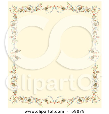 Royalty-Free (RF) Clipart Illustration of a Cream Background Bordered With Colorful Flowers And Berries by Frisko