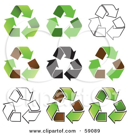 Royalty-Free (RF) Clipart Illustration of a Digital Collage Of Black And White And Green Recycle Arrow Icons by Frisko