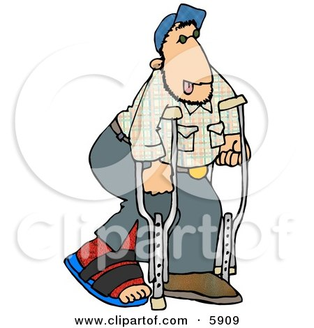 Royalty-free cartoon clipart of a injured man walking on crutches with a