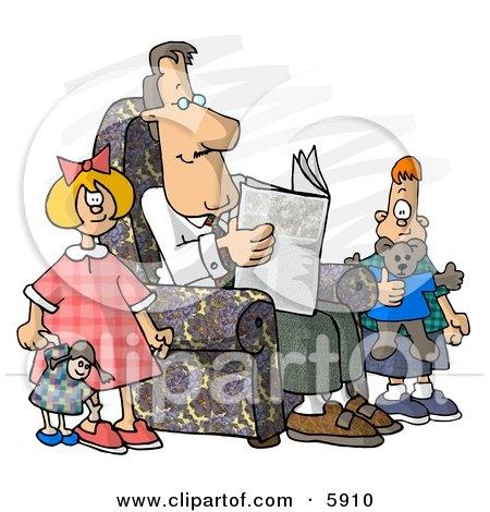 Divorced Dad Reading Newspaper Beside His Kids Posters, Art Prints