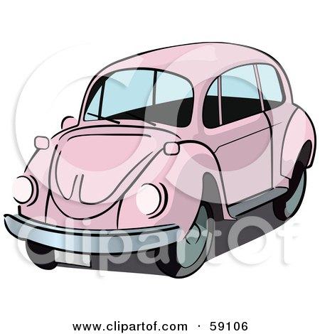 Royalty-Free (RF) Clipart Illustration of a Pale Pink Slug Bug Car by Frisko